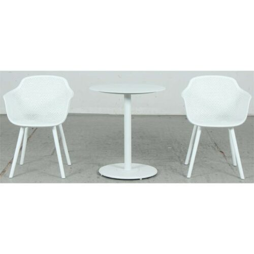 Checker Bistro Table + Lilac Jasmine PP Dining Chair - White