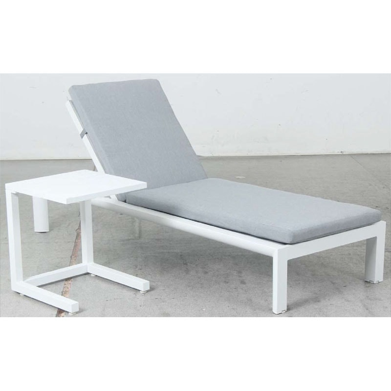 Dune Sunlounge + C Side Table - White