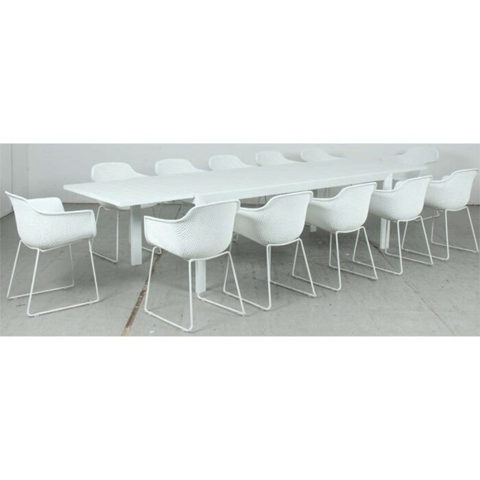 Eclipse Extension Dining Table + Lilac PP Dining Chair - White