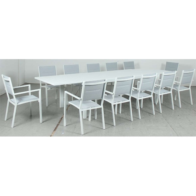 Eclipse Extension Dining Table + Mayfair Padded Sling Dining Chair - White
