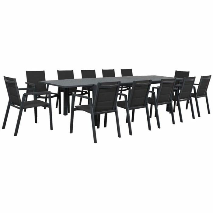 Eclipse Extension Dining Table + Mikado Padded Sling Dining Chair - Gunmetal