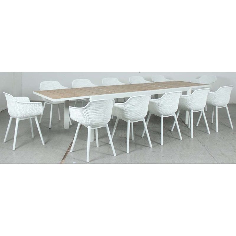 Eclipse Extension Dining Table - Timber Slat + Lilac Jasmine PP Dining Chair - White