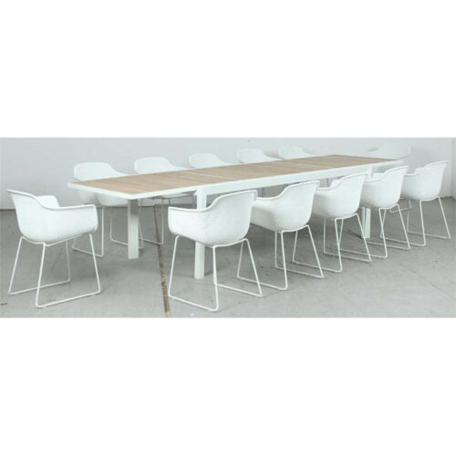 Eclipse Extension Dining Table - Timber Slat + Lilac PP Dining Chair - White
