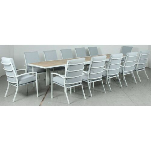 Eclipse Extension Dining Table - Timber Slat + Matzo High‐back Dining Chair - White