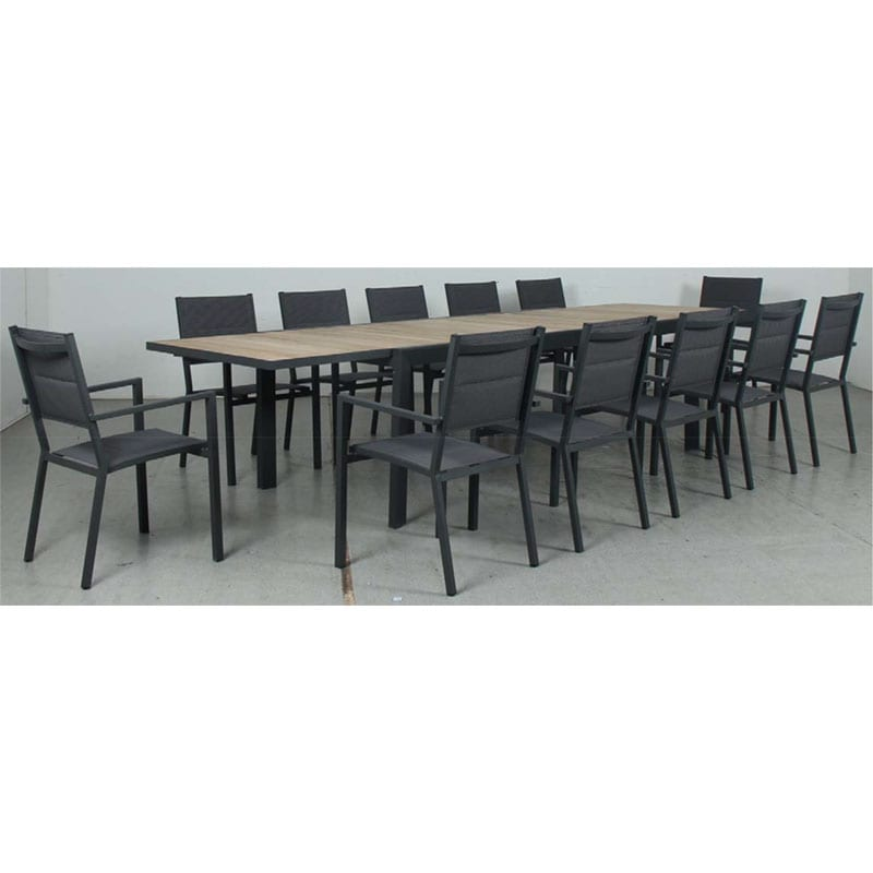 Eclipse Extension Dining Table - Timber Slat + Mayfair Padded Sling Dining Chair - Gunmetal