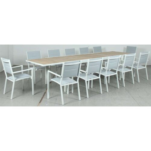 Eclipse Extension Dining Table - Timber Slat + Mayfair Padded Sling Dining Chair - White