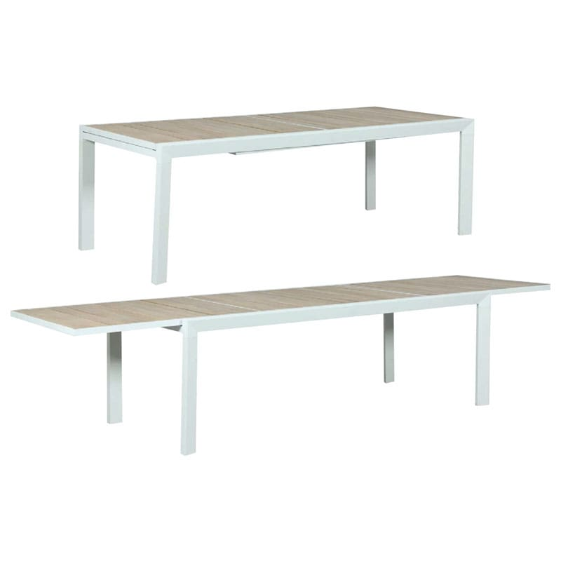 Eclipse Extension Dining Table - Timber Slat - White