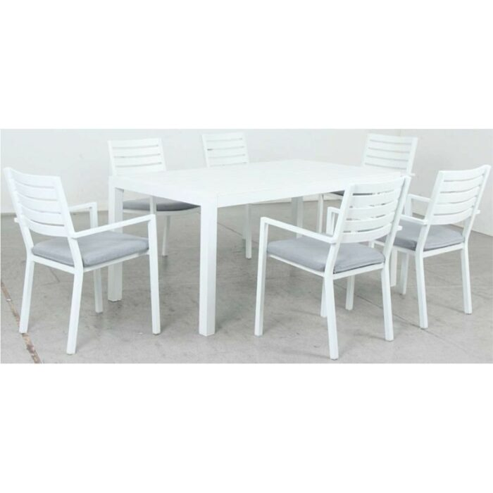 Matzo 1600L Dining Table + Mayfair Dining Chair - White
