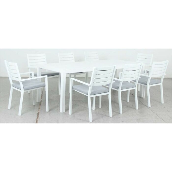 Matzo 2100L Dining Table + Mayfair Dining Chair - White