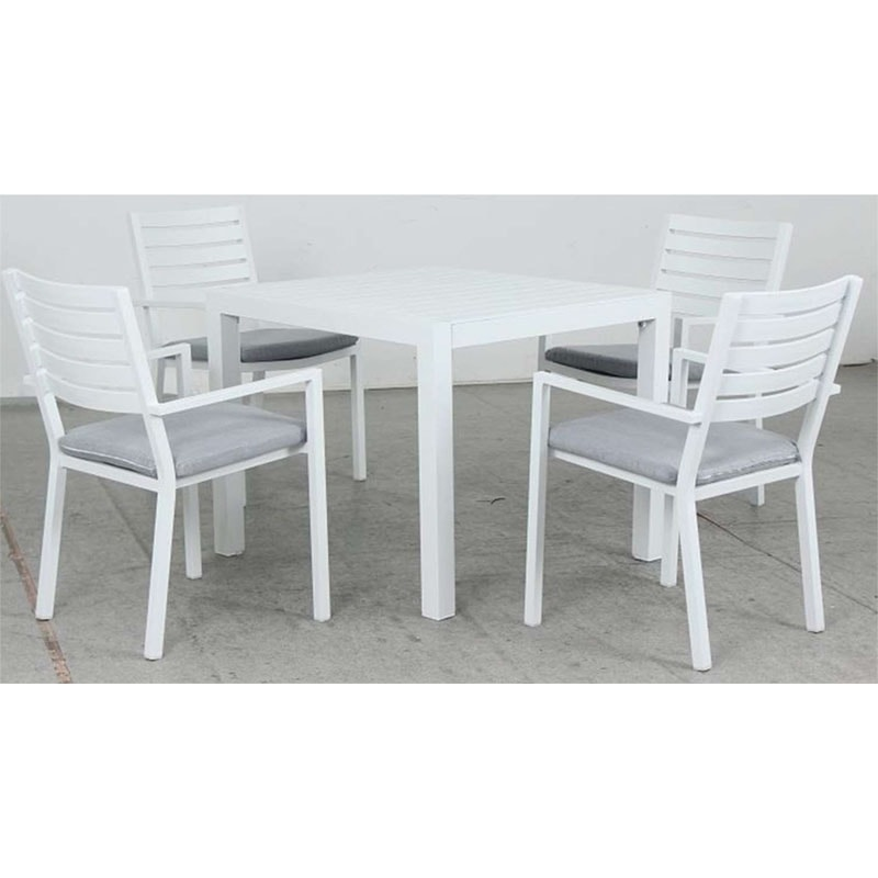 Matzo 900L Dining Table + Mayfair Dining Chair - White