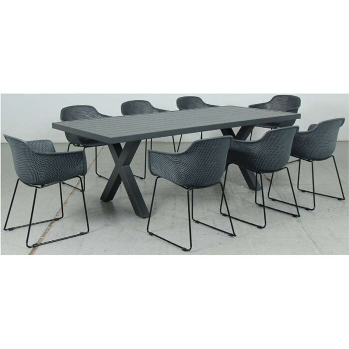 Switch Aluminium 2200LTop and Cross Dining Legs + Lilac PP Dining Chair - Gunmetal