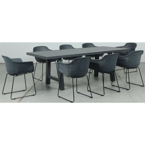 Switch Aluminium 2200LTop and Trestle Dining Legs + Lilac PP Dining Chair - Gunmetal