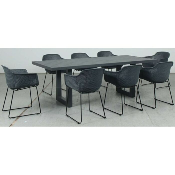 Switch Aluminium 2200LTop and U Dining Legs + Lilac PP Dining Chair - Gunmetal