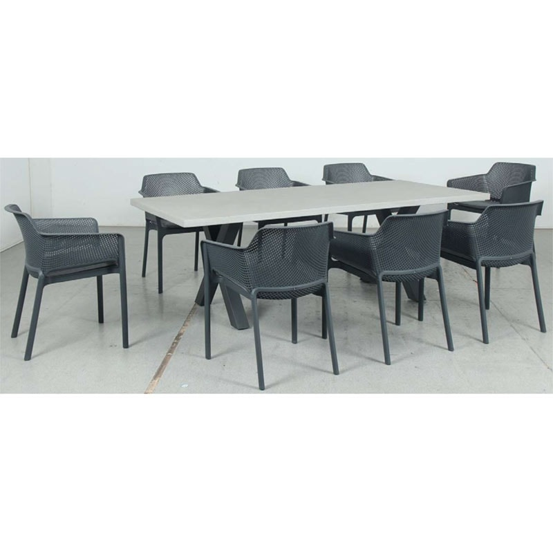 Switch GRC Dining Table Top and Cross Dining Legs + Bailey Resin Chair