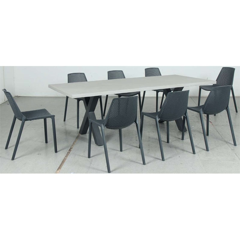 Switch GRC Dining Table Top and Cross Dining Legs + Café Resin Chair