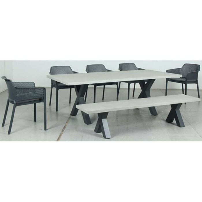 Switch GRC Dining Table Top and Cross Dining Legs + GRC Bench Top and Cross Bench Legs + Bailey Resin Chair