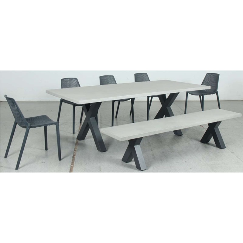 Switch GRC Dining Table Top and Cross Dining Legs + GRC Bench Top and Cross Bench Legs + Café Resin Chair