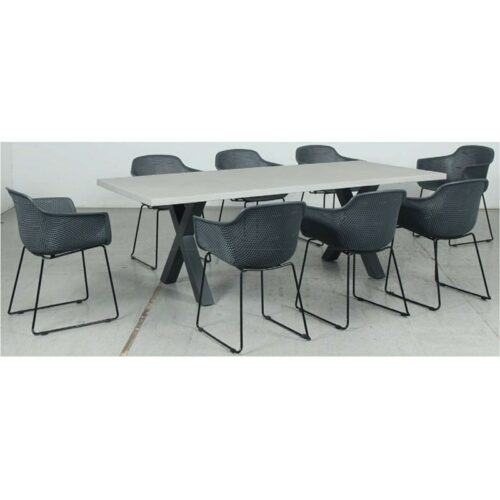Switch GRC Dining Table Top and Cross Dining Legs + Lilac PP Dining Chair