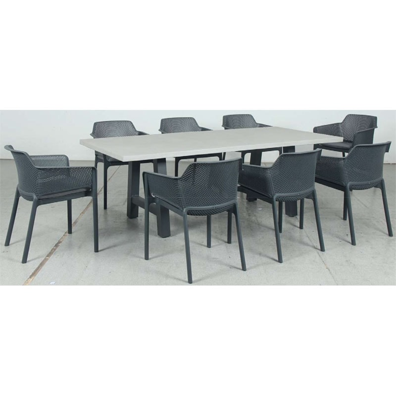 Switch GRC Dining Table Top and Trestle Dining Legs + Bailey Resin Chair
