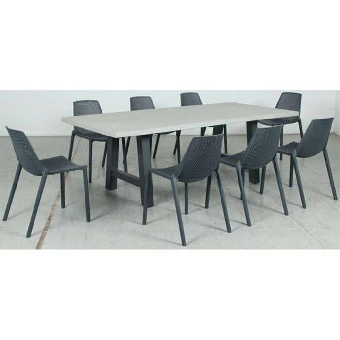 Switch GRC Dining Table Top and Trestle Dining Legs + Café Resin Chair