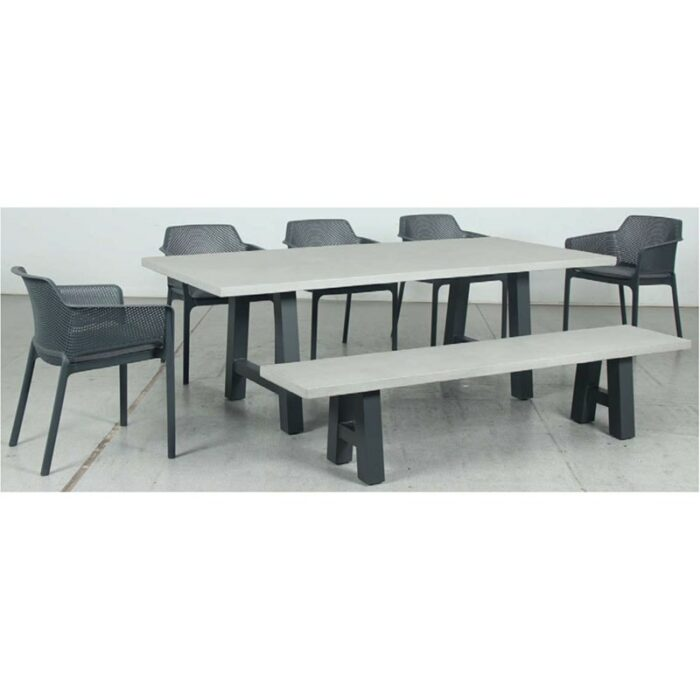Switch GRC Dining Table Top and Trestle Dining Legs + GRC Bench Top and Trestle Bench Legs + Bailey Resin Chair