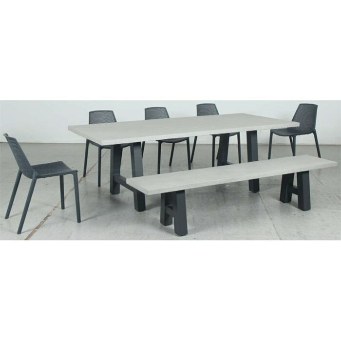 Switch GRC Dining Table Top and Trestle Dining Legs + GRC Bench Top and Trestle Bench Legs + Café Resin Chair