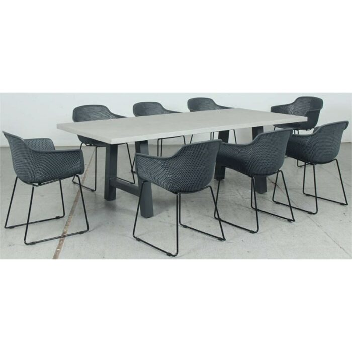 Switch GRC Dining Table Top and Trestle Dining Legs + Lilac PP Dining Chair