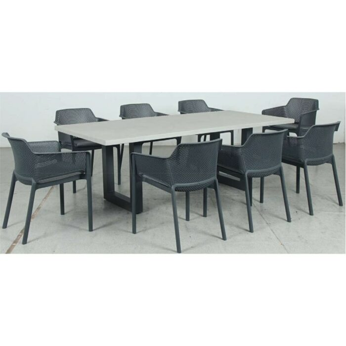 Switch GRC Dining Table Top and U Dining Legs + Bailey Resin Chair