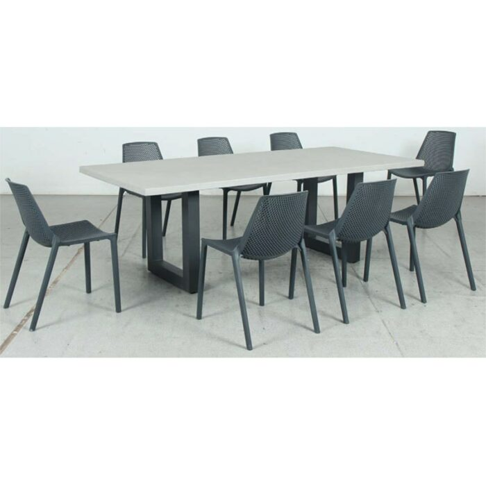 Switch GRC Dining Table Top and U Dining Legs + Café Resin Chair