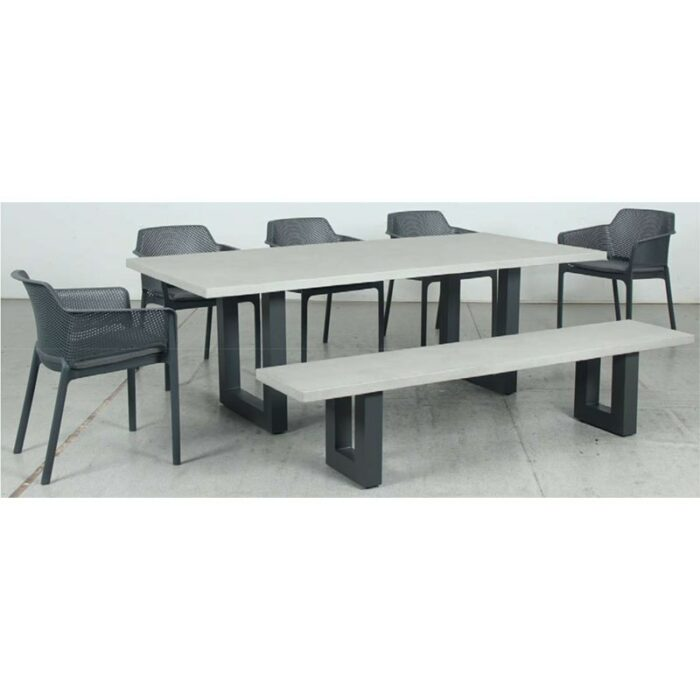 Switch GRC Dining Table Top and U Dining Legs + GRC Bench Top and U Bench Legs + Bailey Resin Chair