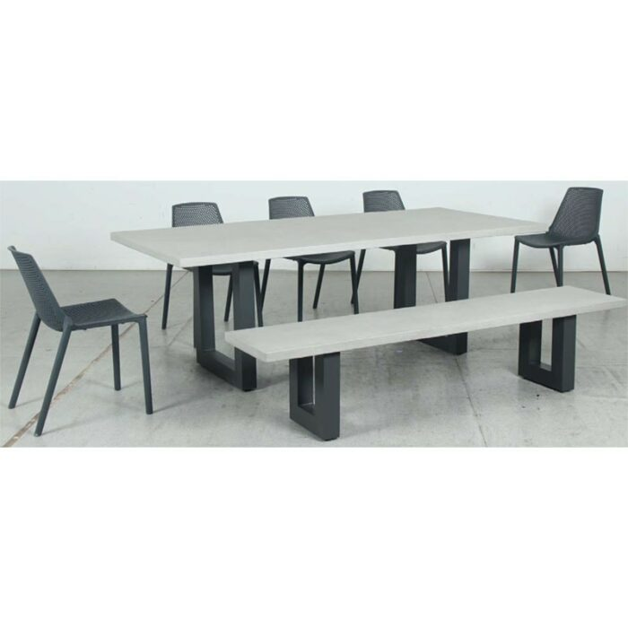 Switch GRC Dining Table Top and U Dining Legs + GRC Bench Top and U Bench Legs + Café Resin Chair