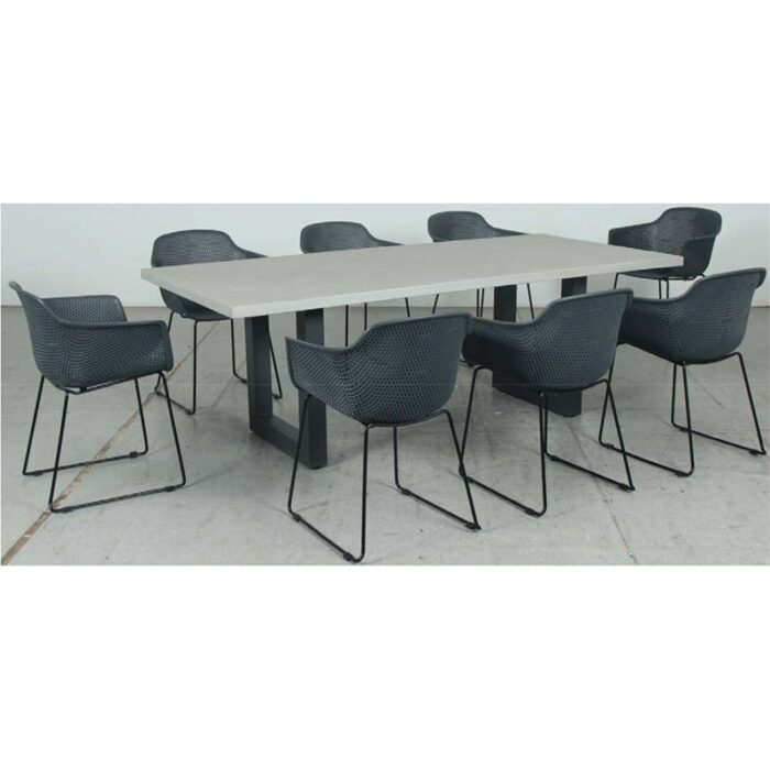 Switch GRC Dining Table Top and U Dining Legs + Lilac PP Dining Chair