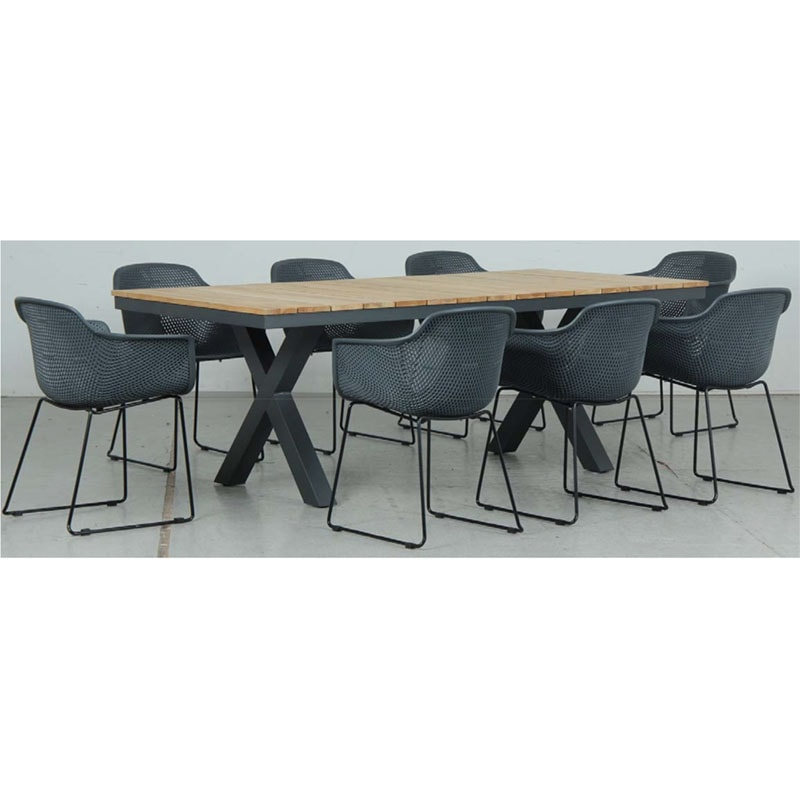 Switch Natural Teak 2200LTop and Cross Dining Legs + Lilac PP Dining Chair - Gunmetal