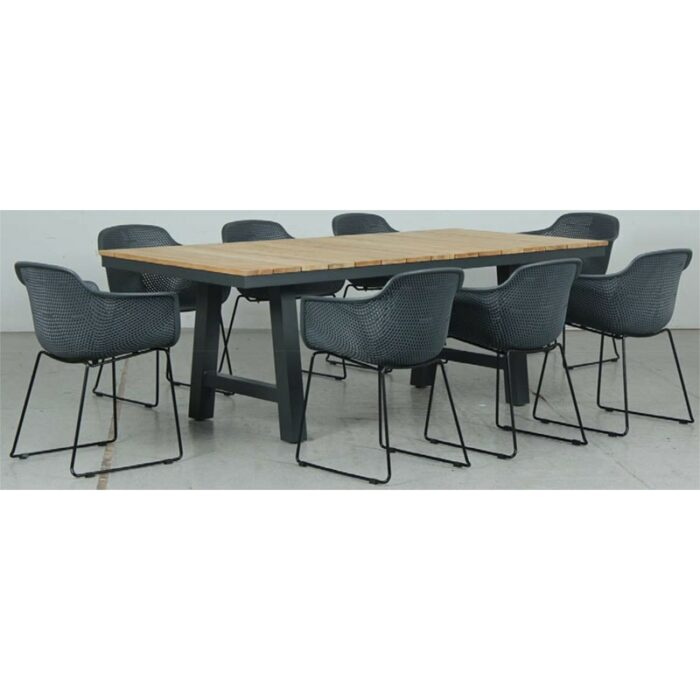 Switch Natural Teak 2200LTop and Trestle Dining Legs + Lilac PP Dining Chair - Gunmetal
