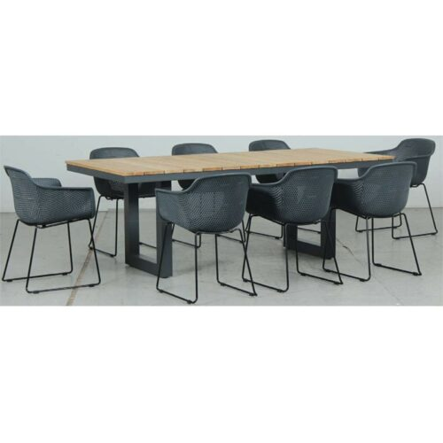 Switch Natural Teak 2200LTop and U Dining Legs + Lilac PP Dining Chair - Gunmetal